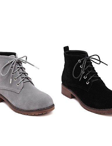 La Gray Mujer Cn36 Zapatos Uk4 Gray Eu39 us6 A De Negro Uk6 Cn39 Casual Robusto Vellón Moda Gris Eu36 Botas Tacón Punta Redonda us8 Vestido Xzz Eqzwa4E
