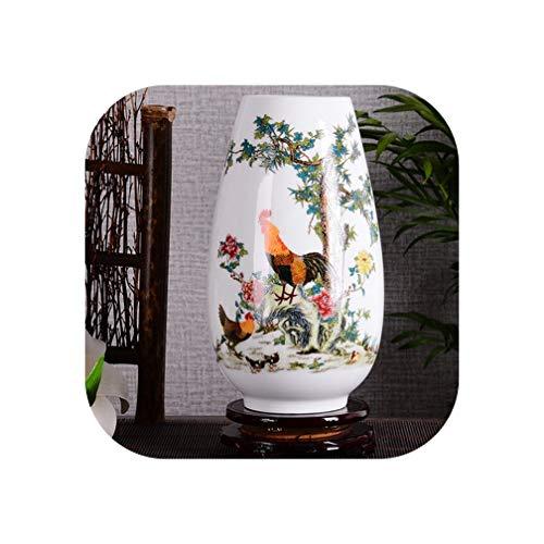 NA Jingdezhen Ceramic Vase Vintage Chinese Style Smooth Surface Home Decorations Bottle Vase with Base,2 (Hookah Unity)