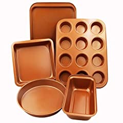 The CopperKitchen 5 Piece Premium Nonstick Bakeware Set that every household need. - 1 X Loaf Pan- 1 X Square Cake Pan - 1 X Round Cake Pan - 1 X Cookie Sheet - 1 X 12 Cup Muffin Pan  Safe for you and the environment too  - Most bakers in th...