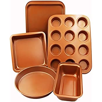 CopperKitchen Baking Pans - 5 pcs Toxic Free NONSTICK - Organic Environmental Friendly Premium Coating - Durable Quality - Muffin Pan, Loaf Pan, Square Pan, Cookie Sheet and Round Pan - BAKEWARE Set