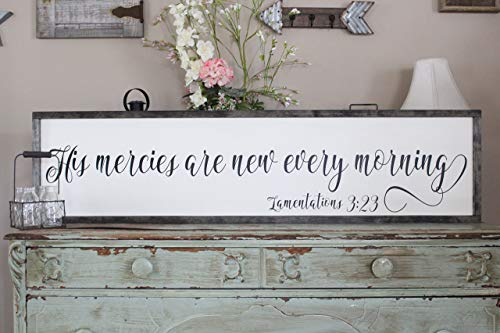 His Mercies Are New Every Morning Wall Art/Hand Painted Sign/Farmhouse Decor/Wall Decor/Home Decor/Modern Artwork/Large Framed Artwork ()