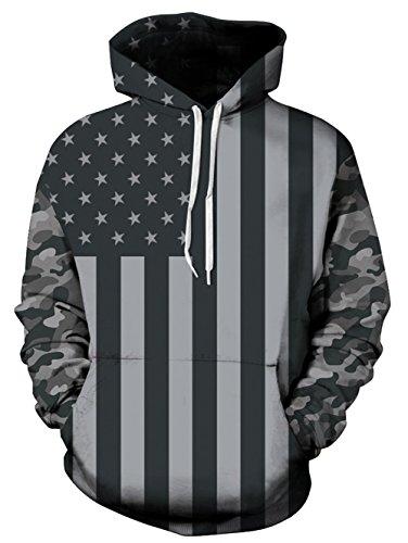 - Uideazone Teen 3D American Flag Pullover Hooded Sweatshirt Casual Couple Hoodie