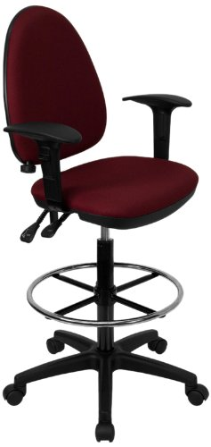 Flash Furniture Mid-Back Burgundy Fabric Multifunction Drafting Chair with Adjustable Lumbar Support and Adjustable Arms (Chair Multi Burgundy Task)