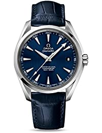Men's 'Seamaster150' Swiss Automatic Stainless Steel and Leather Dress Watch, Color:Blue (Model: 23113422103001)