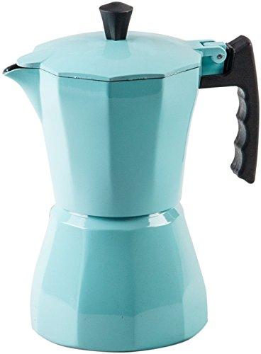 Palais Dinnerware Stovetop Espresso Maker - Aluminum Coffee Maker Moka Pot (Turquoise, 6 Demitasse Cups)
