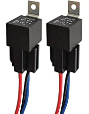 ARTGEAR JD1912 Car Relay Harness 12V 40A 4 Pin SPST Harness Sockets with Color-labeled Wires for Automotive Truck Van Motorcycle Boat (Pack of 2)