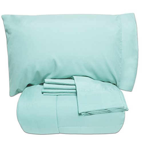 Down Set Piece 5 (Sweet Home Collection 5 Piece Bed-in-a-Bag Solid Color Comforter and Sheet Set - Great for College, Twin XL, Aqua)