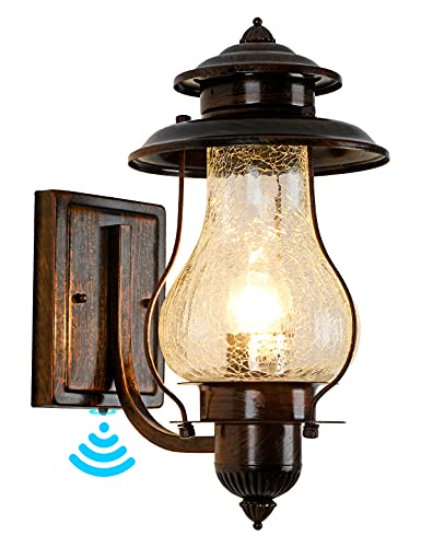 Dusk to Dawn Exterior Wall Lantern Rustic Outdoor Lighting Fixture Wall Mount Front Porch Lights with Photocell Sensor…