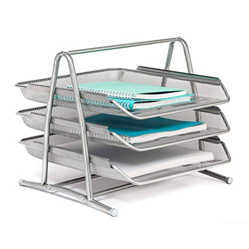Mindspace 3 Tier Desk Tray Office Organizer | The Mesh Collection, Silver