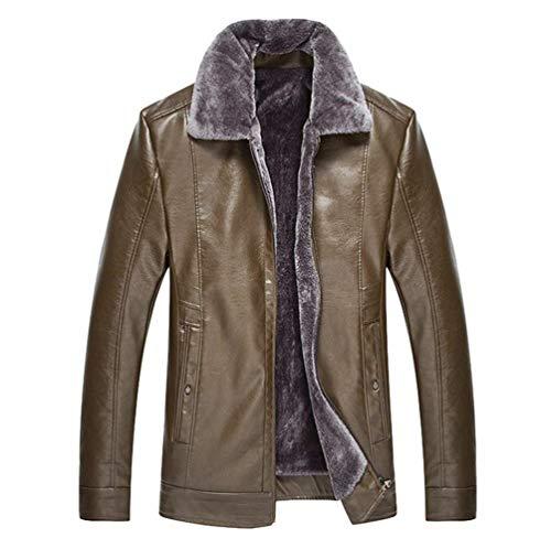 Huixin Men's Pu Leather Faux Fur Warm Coat Jacket Apparel Winter Collar Winter Coat Lapel Outerwear Dunkel Coffee