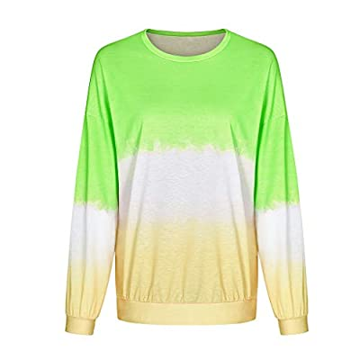 SADUORHAPPY Tops for Womens Casual Long Sleeve O-Neck Novelty Gradient Contrast Color Top T-Shirt Sweatshirt: Clothing