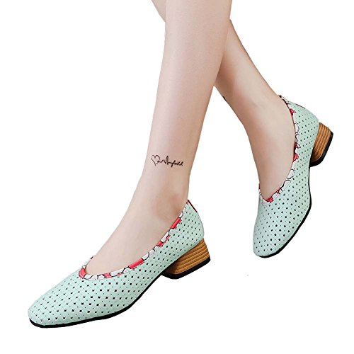 ANDAY Breathable Hollow Out Square Toe Mid Block Heeled Pumps Sandals for Women Lady Light Blue oc8VoGLN