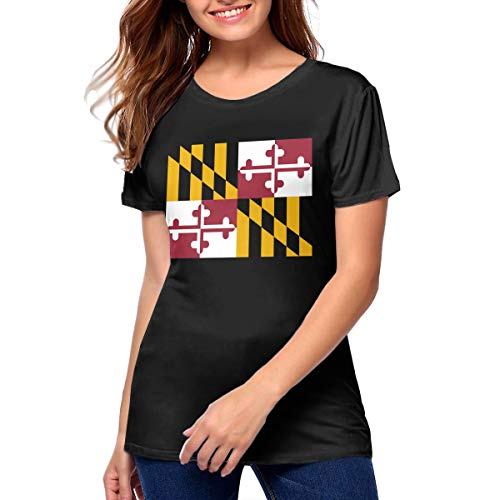 Womens Maryland Flag Stylish Sporty Tee XL Black -