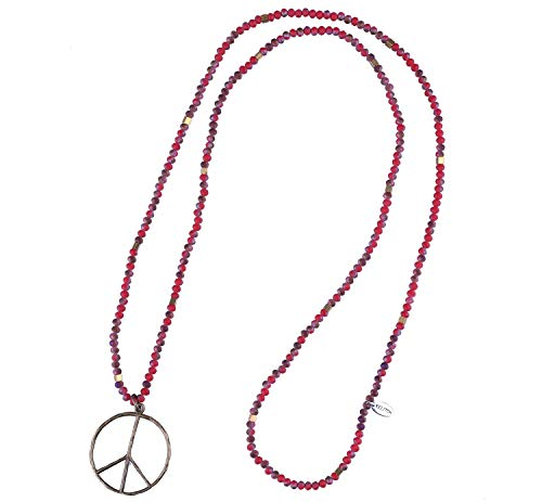 KELITCH Classic Peace Sign Love Hippie Pendant on Frosted Crystal Beaded Necklace (Deep Red)]()