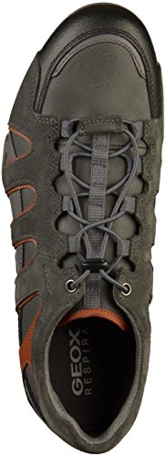 Geox Men's Uomo Snake a Low-Top Sneakers Grey (Anthracite/Dk Orange C9a7l) C03Nh1