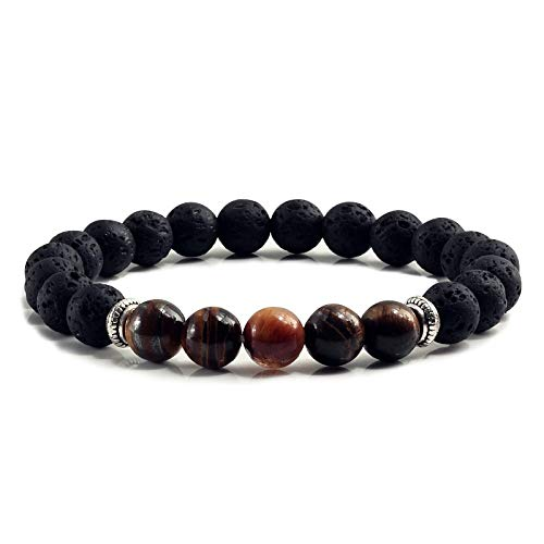 (Zozu Natural Volcanic Stone Bracelets Charm Women Chakra Balance Beads Men Black Lava Turquoises Strand Bangle Fashion Buddha Jewelry (Tiger Eye))