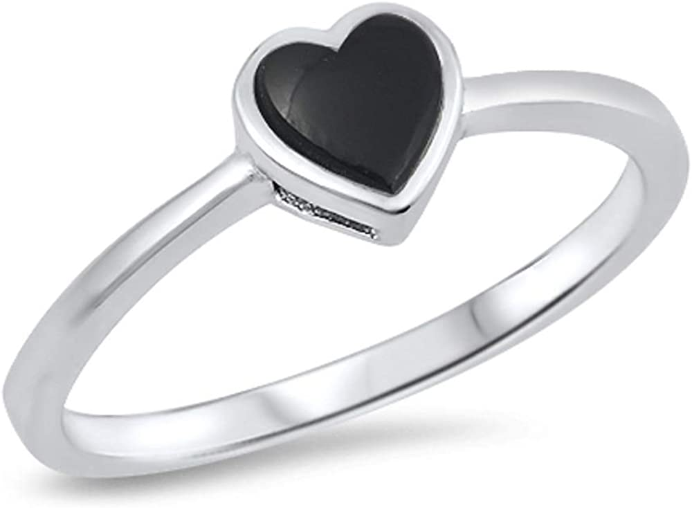 CloseoutWarehouse Simulated Abalone Little Heart Ring Sterling Silver