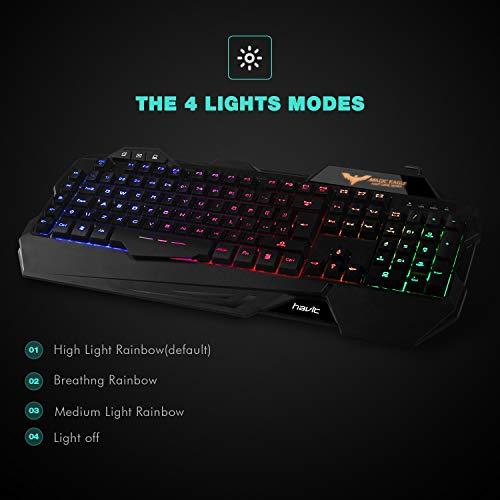 gaming keyboard uk layout havit rainbow led backlit wired keyboard and mouse combo set black