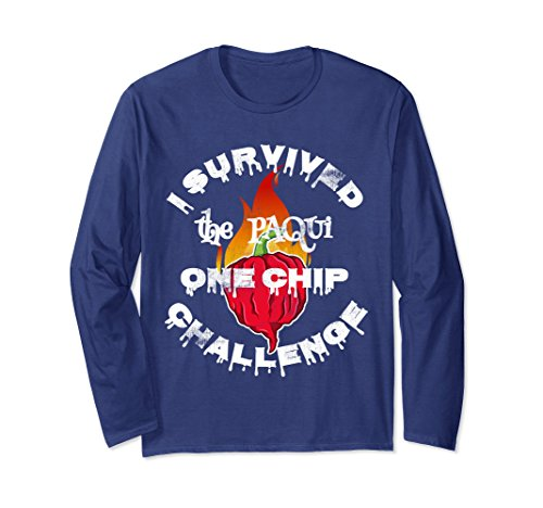 Unisex Paqui One Chip Challenge Survival Swag Long Sleeve Tee Large Navy Chip And Pepper Clothes
