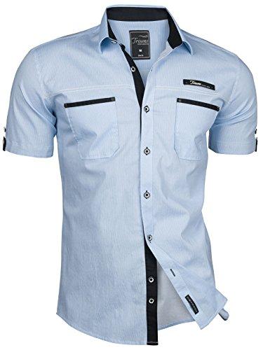 Camisa De Claro Ajuste Azul Polo A Hombre Ceñido Manga Trisens Estilo Corta Para Rayas Algodón BSxRqqdH