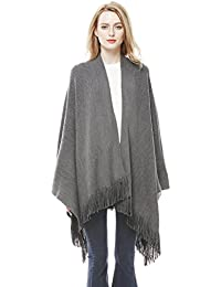 Women Winter Warm Cashmere Feel Poncho Capes Scarf Shawl Cardigans Sweater Coat