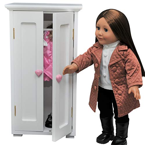 The Queen's Treasures White Wooden Storage Wardrobe Clothes Closet Trunk with 4 Hangers, Funiture Sized for 18 Inch American Girl Dolls & Others! (American Girl Dolls For Sale In Canada)