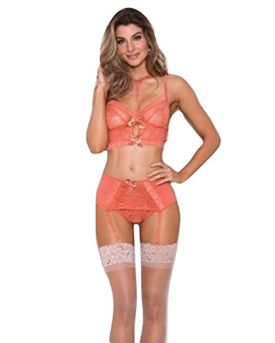 iCollection Lingerie Choker Lace, Mesh Bralette, Garter Belt & Panty Coral (Small)
