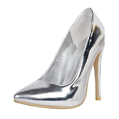 Ggx/femmes Cuir verni Chaussures d'été talons/Bout Pointu talons Mariage/fête & Soirée Stiletto Talon à enfiler Argent