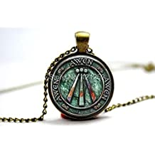Pretty Lee 2015 Fashion Rustic Awen In Blueish Greens Pendant Necklace Glass Photo Cabochon Necklace Christmas gift