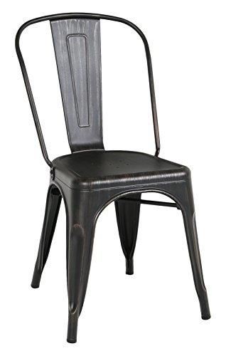 WE Furniture Stackable Metal Cafe Bistro Chair, Antique Black