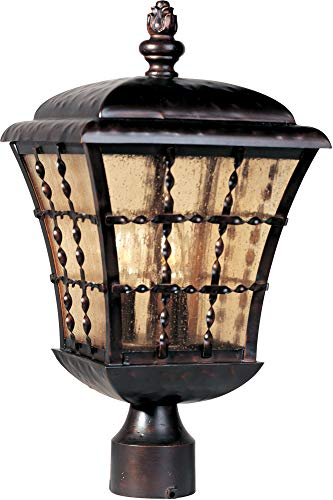 Maxim 30490ASOI Orleans 3-Light Outdoor Pole/Post Lantern, Oil Rubbed Bronze Finish, Amber Seedy Glass, CA Incandescent Incandescent Bulb , 25W Max., Dry Safety Rating, 3000K Color Temp, Standard Triac/Lutron or Leviton Dimmable, Frosted Glass Shade Material, 4930 Rated Lumens (Outdoor Lamp Post Oil Rubbed)