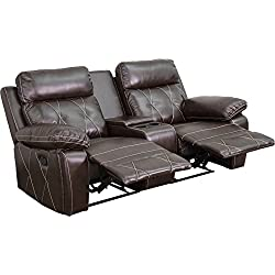 Flash Furniture Reel Comfort Series 2-Seat Reclining Brown Leather Theater Seating Unit Straight Cup Holders