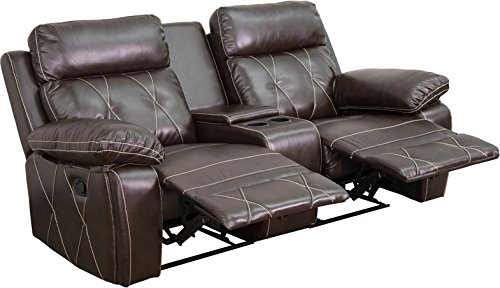 Flash Furniture 2 Seat Real Comfort Series Reclining Leather Theater Seating Unit with Straight Cup Holders, Brown