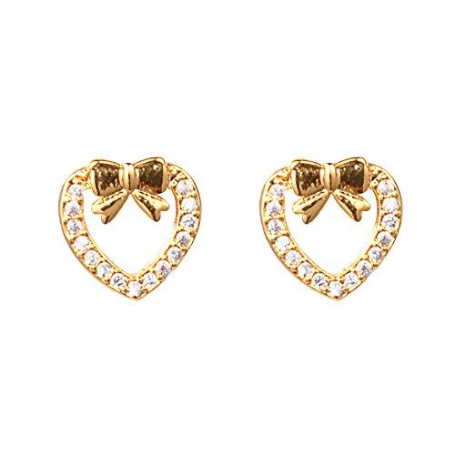 Heart Earrings Studded Large (18k Gold Cubic Zirconia Bowknot and Heart Stud Earrings)
