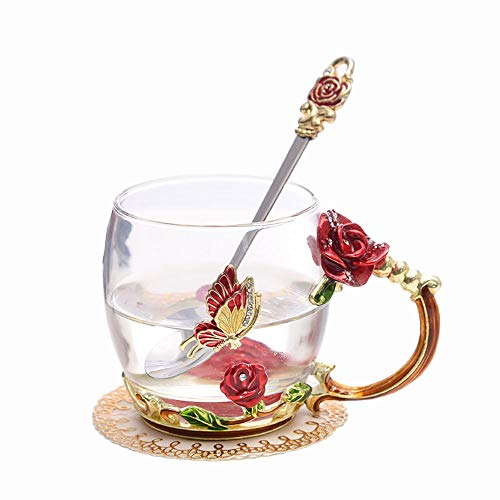 (ONEPENG Tea Cups Glass Coffee Mugs Handmade Unique Butterfly Rose Flower For Women Valentine's Day Birthday Presents Decoration Wedding Gift (Rose-Red-Short))