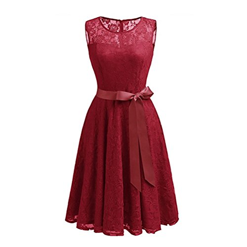 Col Manches Vintage Robe Avec Une Femme Rouge Dentelle Cocktail Sans Rond Ceinture De Mariage Fuweiencore zw8xAx
