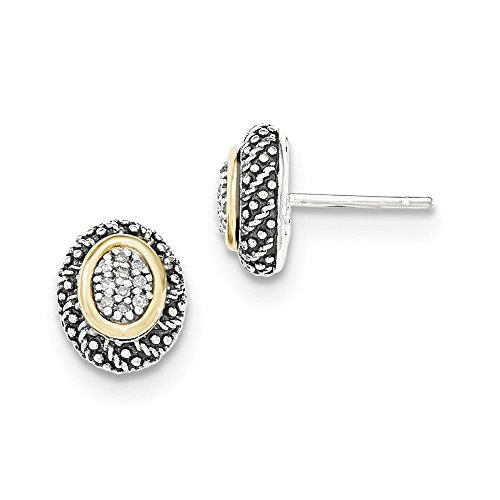 Sterling Silver w/14k Diamond Post Earrings by CoutureJewelers