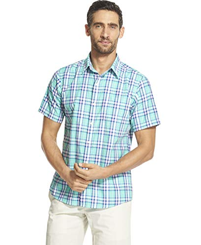 (IZOD Men's Breeze Short Sleeve Button Down Plaid Shirt, Florida Keys, Large)