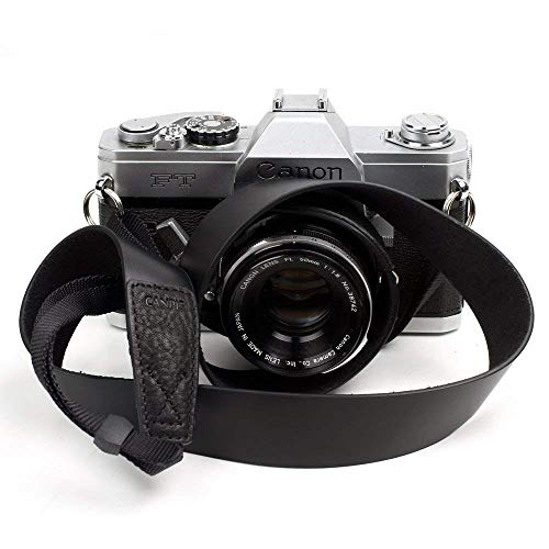 Leather Camera Neck Strap - CANPIS Soft Leather Camera Shoulder Neck Strap Vintage Style, Black Color, Adjustable Length for Universal Camera Canon Nikon Sony Fujifilm Olympus etc.