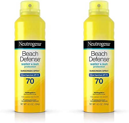 Beach Defense Body Spray Sunscreen with Broad Spectrum SPF 70, Water-Resistant and Oil-Free Sun Protection, 6.5 oz (2 Pack)