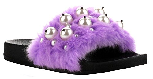 12 Fur Slipper Shoe Black Purple Slide Flip Moira Pearl Women Flop Faux Slip Cape Sandal Flat Robbin On 0xwxU