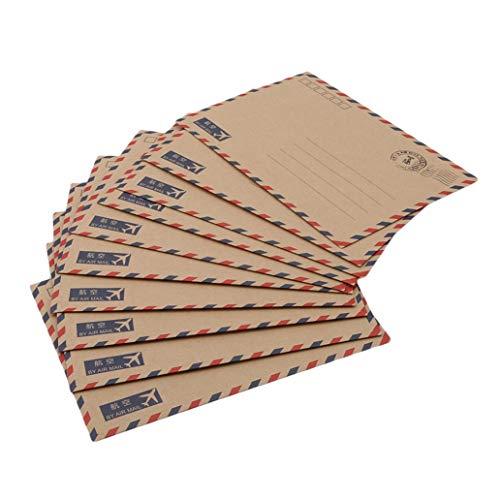 SONGLIIN 10PCS Kraft Paper Envelopes Airmail Stationery Postcards Letter Storage Paper Gift, Khaki ()