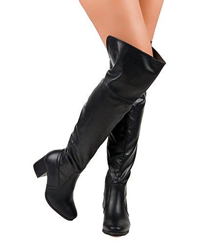 RF ROOM OF FASHION Damen Overknee-Stretchstiefel - Trendy Pullon Niedriger Blockabsatz Komfortabler Schuh - Reißverschluss - In mittlerer und breiter Weite erhältlich Schwarz Pu - Mittleres Kalb