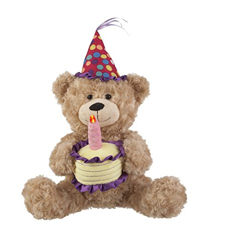 Ganz Animated Plush Toy Birthday Bear Sings Happy Birthday 9.5 inches