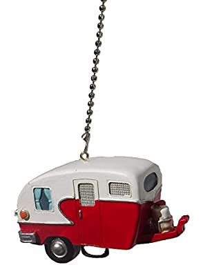 Red Retro Camper Trailer RV Ceiling Fan Pull