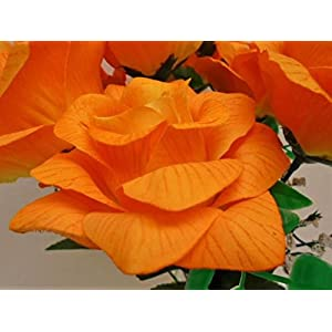 "2 Bushes Open Rose 7 Artificial Silk Flowers 15"" Bouquet SN039 51"