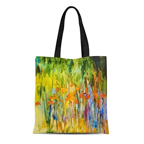 Bag Shoulder Bags Orange Modern Abstract Flowers Colorful Meadow Oil on Canvas Women's Handle Shoulder Tote Shopper Handbag ()