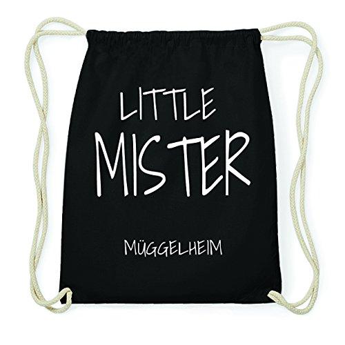 JOllify MÜGGELHEIM Hipster Turnbeutel Tasche Rucksack aus Baumwolle - Farbe: schwarz Design: Little Mister