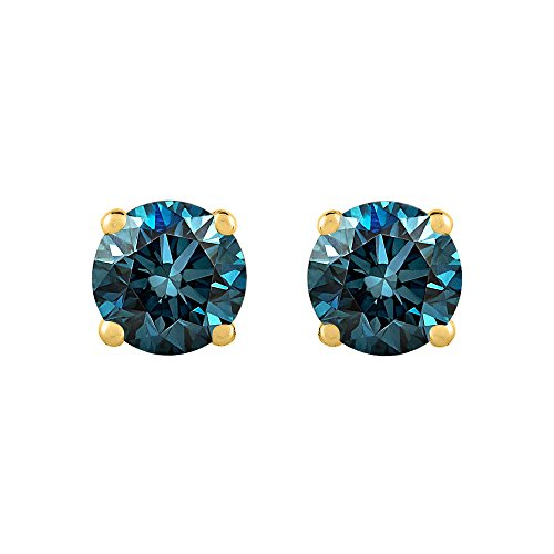 1/2 ct. Blue - I1 Round Brilliant Cut Diamond Earring Studs in 14K Yellow Gold