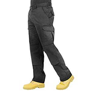 Endurance Mens Cargo Combat Work Trouser with Knee Pad Pockets and Reinforced Seams – Available in Black, Navy, Grey/Black & Black/Grey